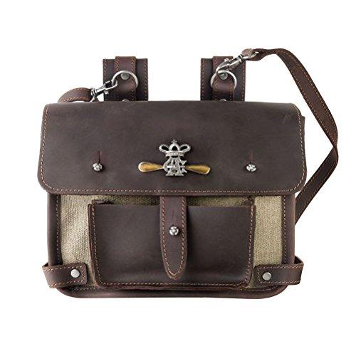 Alchimie Gothic Wing-Commander's Attache Leder und Leinwand Tasche (Leinwand Attache)