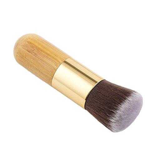 MagiDeal Brosse de Maquillage à Manche Bois de Bambou Pinceau Cosmétique pour Fondation Visage Fond de Teint Blush Contour Anti-cernes - Tête Incliné