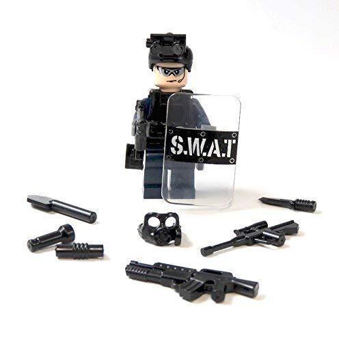 AChin Polizei Figur SWAT Spezialeinheit aus Lego® Teilen mit Custom Zubehör Polizist (Lego Custom)
