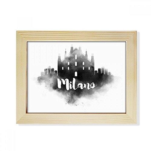 DIYthinker Milano Italien Zeichen Ink Stadt Malerei Desktop-HÖlz Bilderrahmen Fotokunst-Malerei Passend 15.2 x 20.2cm (6 x 8 Zoll) Bild Mehrfarbig