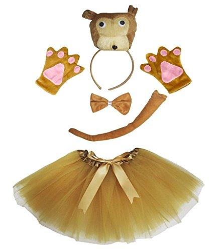 Petitebelle 3D-Stirnband Bowtie Schwanz Handschuhe Tutu 5pc Mädchen-Kostüm Einheitsgröße ()