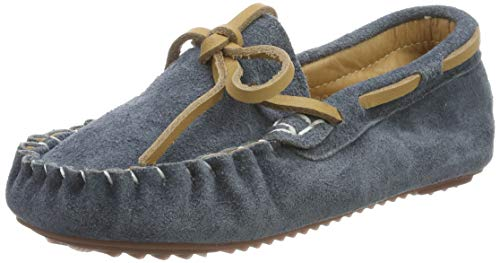 Mädchen Jungen Mokassins Wildleder Rutschfest Lauflernschuhe Kinder Loafers Baby Schuhe mit Weich Sohle für Frühling Sommer, Grau, 26 EU (CN 27)
