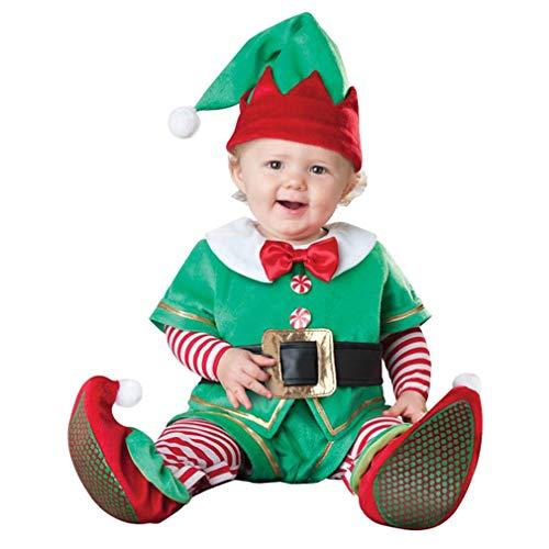 LvRaoo Unisex Baby Strampler Weihnachtself Jungen Mädchen Overalls Cosplay Halloween Weihnachten Kostüm (Grün Elfe, - Weihnachtself Baby Kostüm