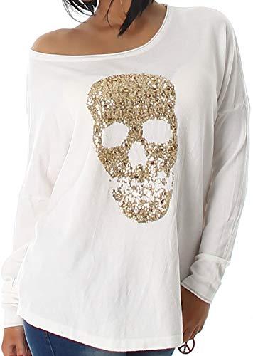 Voyelles Jela London Damen Totenkopf Pullover Glitzer Sweatshirt Skull Sweater Longsleeve Stretch Pulli Oversize Feinstrick, 34 36 38 Creme Weiß Stretch-damen-sweatshirt