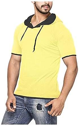 Demokrazy Men's Cotton T-Shirt (NP092_S, Yellow, S)