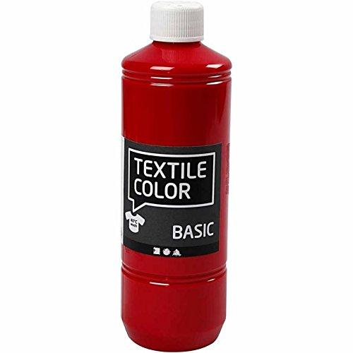 Textilfarbe Primärrot 34155 von Creativ Company - Stoffmalfarbe zum Verzieren von Textilien wie Taschen, Kissenbezügen, Kleidung, usw. 500 ml.