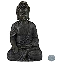 relaxdays Estatua Buda Sentado para Jardín o Salón, Resina Sintética, Gris Oscuro, 18 cm, polirresina