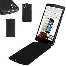 xubix - Carcasa ultrafina de piel con tapa para LG Google Nexus 5, color negro