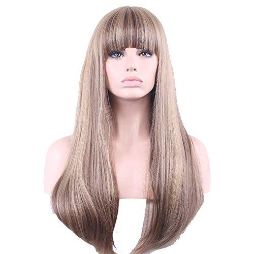 Peut être chaud teint haute température fil mode lady perruque cheveux longs