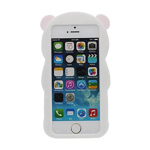 Coque Protection Case pour Apple iPhone 5 5S 5G SE, 3D Mignon Dessin animé Panda Forme Série Divers Couleur Housse de Protection Souple Élastique Silicone Poids Léger Anti choc Cover avec 1 stylet rose