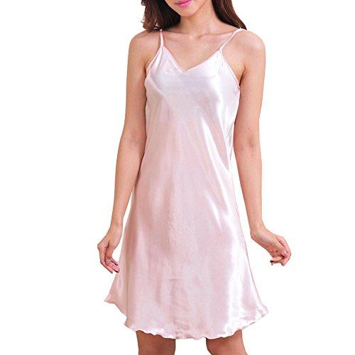 iBaste Nachthemd Sleepwear Satin LingerieEinfarbigUnterkleid Unifarben S-XXXL (Nachthemd Rosa Seide)