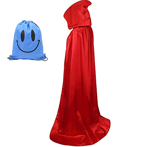 Mantello con Cappuccio, Adulto Halloween Lungo Mantello Halloween Costume Unisex Strega Wicca Mantello (M, Rosso)