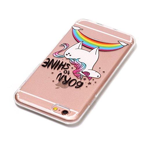 Custodia iPhone 6 6S 4.7 ,JIENI Trasparente Cover Moda rosa Rose Flessibile TPU Silicone Bumper Case per Apple iPhone 6 6S 4.7 HX52