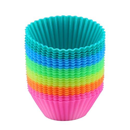 ipow 24 Pack Silikon muffinform Muffin Cupcake Förmchen Backförmchen - lebensmittelechtes Silikon, FDA Zertifiziert, BPA frei und Geruchlos - Φ 7cm Silikonförmchen in 6 Farben