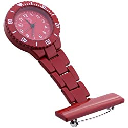 Gleader Red Quartz Movement Nurse Brooch Fob Tunic Pocket Pendant Watch