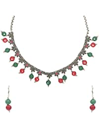 Unibrand - The Indian Handicraft Store Red And Green Stone Oxidised Silver Necklace Set Designer Handmade Jewellery