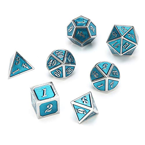 TuToy 7Pcs Zink Alloy Multi-Seiten-Dices Set Embossed Heavy Metal Polyhedral Dice With Bag - #3