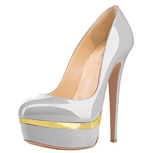 MONICOCO Übergröße Round Toe Mehrfarbig Stiletto Pumps mit Plateau für Party Hochzeit Grau-Gold Lackleder