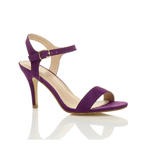 Femmes haute talon boucle fête élégant à lanières sandales chaussures pointure Violette Pourpre Daim