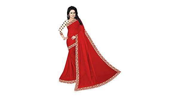 f4f24e3b639 Rensila Lycra Saree With Blouse Piece(NIS Gulab Red S White Free Size)   Amazon.in  Clothing   Accessories