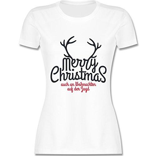Weihnachten & Silvester - Merry Christmas Hirsch Jagd Weihnachten - tailliertes Premium T-Shirt mit Rundhalsausschnitt für Damen Weiß