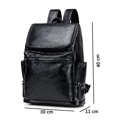 WMYQQLX Rucksack Computer Tasche 15,6 Zoll Laptop Pu Leder Rucksäcke Für Männer Rucksäcke Jugend Reise Bagpack Schulbuchtasche -