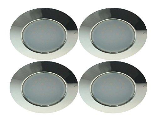 Trango TGG4E-04X Set da 4 faretti LED da incasso da 12 Volt AC/DC, sostituiscono i tradizionali faretti da incasso G4 per mobili, cappe da cucine ecc... Chrom