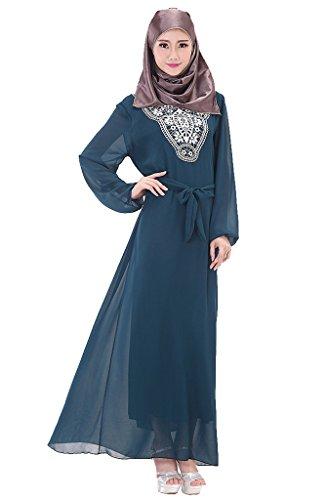 GladThink Donne Più Dimensione musulmano Chiffon Kaftan islamico Maxi Vestito Indaco