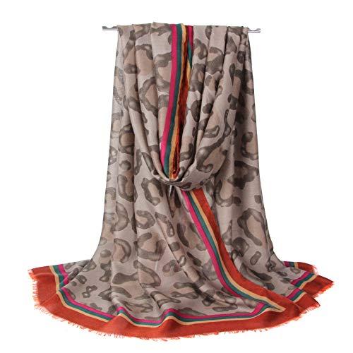 Longwu Idea regalo da donna Sciarpa lunga cotone Sciarpe da donna Fazzoletto da passeggio estivo Fazzoletto da collo da donna Primavera Autunno Cachi