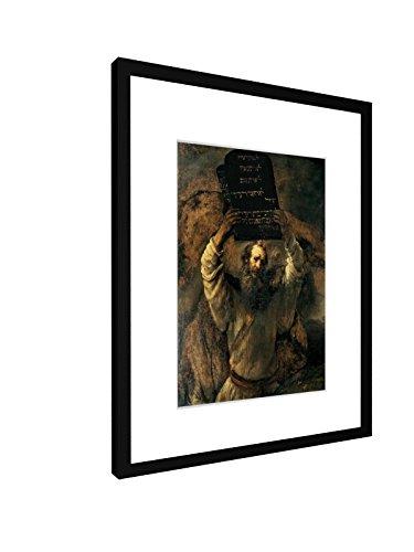 weewado Rembrandt - Moses zerschmettert die Gesetzestafeln - 30x40 cm - Bild mit Rahmen/Gerahmtes Poster - Kunstdruck - Wandbild - Kunst, Gemälde, Foto, Bild - Alte Meister/Museum