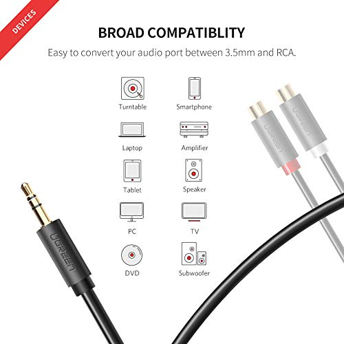 41lgIIBa2EL. SS500  - UGREEN RCA 3.5mm Adapter Cable 2 Phono Female to Male Aux Mini Jack Stereo Headphone Audio Lead Compatible With iPhone…