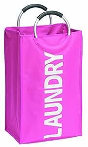 Wenko 3440030100 Textile Fabric Laundry Bin Lipstick, 24 x 54 x 34 cm, Pink