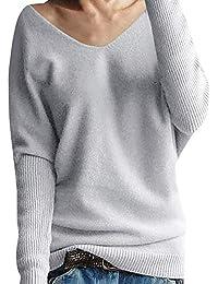 e703c6ded7f3 Yidarton Damen Mode Kaschmir Pullover übergroße Lose Langen Ärmeln V-Ausschnitt  Fledermausflügel Herbst und Winter Warm…