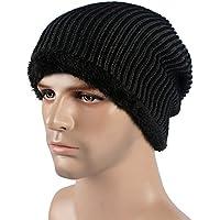 lkklily-fluff a través de invierno hombres de punto sombreros gorro gorra de esquí de otoño/invierno cálido sombrero