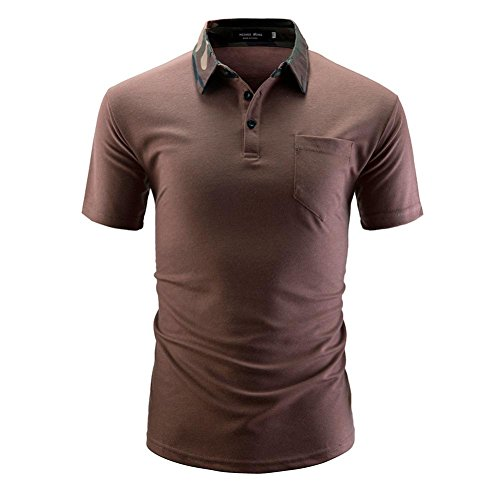 VEMOW Sommer Männer Hemd Mode Einfarbig Männlichen Casual Täglichen Business Workout Kurzarm Shirt T-Shirts Pulli Tees(Kaffee, ()