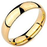 MeMeDIY 5mm Oro Dorado Tono Acero Inoxidable Anillo Ring Banda Venda Alianzas Boda Amor Love Talla Tamaño 30 - Grabado Personalizado