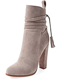 FSJ Women Faux Suede Ankle Boots With Side Zipper Almond Toe Chunky Heels Tassels Shoes Size EU 34-43