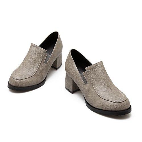 AllhqFashion Femme Rond Tire Pu Cuir Couleur Unie à Talon Correct Chaussures Légeres Gris