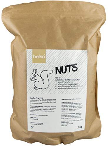 belso 2 kg Winter Eichhörnchenfutter aus Deutschland, artgerecht, 100% natürlich, ganzjährig fütterbar, für Garten Futterhaus Eichhörnchenfutterhaus Eichhörnchen Streifenhörnchen