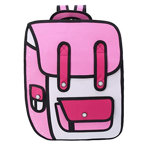 JAGENIE 3D-Rucksack, 3D-Jump-Stil, 2D-Zeichnung aus Cartoon-Papier, Schultertasche, Comic-Bookbag, Nylon, Rose, 35x10x45cm 2d-rose