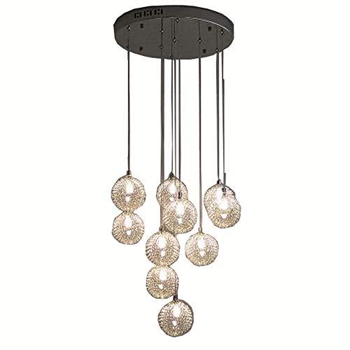 35,6 cm New 10 lampes en verre de fil d'aluminium Balles Parlour Suspension moderne d'escalier Coque Salon Cuisine Salle à manger au plafond