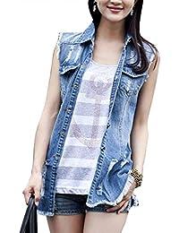 Jeansweste Damen Zerrissen Löcher Vest Ärmellos Revers Festlich Jeansjacke  Elegant Vintage Fashion Freizeit Große Größen Denim a128957768