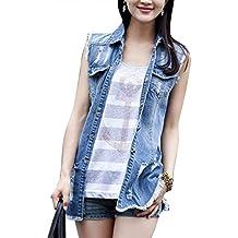 ef605757e43c Jeans Gilet Femme Déchiré Trous sans Manches Revers Jean Vestes Élégant  Vintage Fashion Loisir Grande Taille