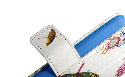 Coque Apple iPhone SE PU Cuir Portefeuille,Ekakashop iPhone 5S Bookstyle Aimant Pliable Flip Cover Smart Supporter Case Protecteur Etui Housse de Protection,Jolie Résumé Tour Design Magnétique Portefe Parapluies Colorés