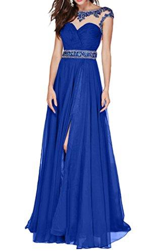 Victory Bridal Attraktive Kurzarm Perlen Chiffon Abendkleider Ballkleider Partykleider Promkleider Lang A-linie Royal Blau