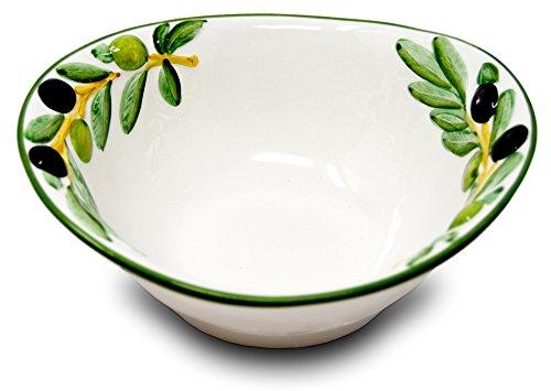 Lashuma handgemachte Keramikschale, ovale Salatschüssel aus Italienischer Keramik im Olivendesign, ca. 20 x 17 cm -