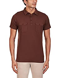 Kenneth Cole Reaction Mens Polo (4100418410166_KCRFW15PL04_Large_Seal Brown)