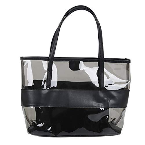 Lazzboy Frauen Transparent Wild Cute Messenger Schultertasche Handtasche Damenhandtaschen Koreanische Version All-matched Farbe Gelee Paket Transparente Tasche Umhängetasche(Schwarz) -