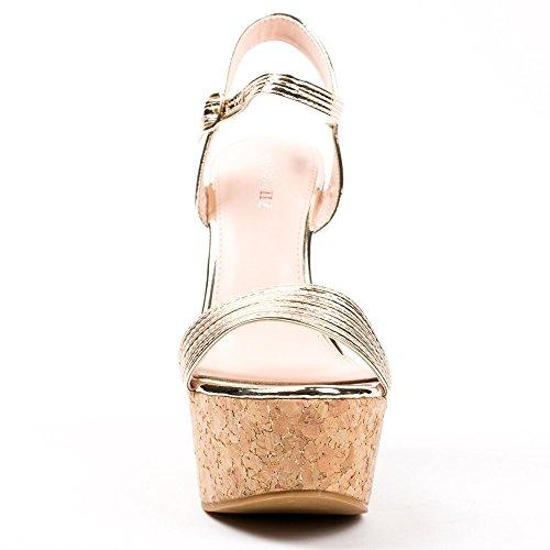 Ideal Shoes Sandales Vernies avec Plateforme en Liège Alana Doree