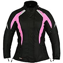 Choque Rosa Mujer Motocicleta Protección Chaqueta Impermeable - Rosa, L